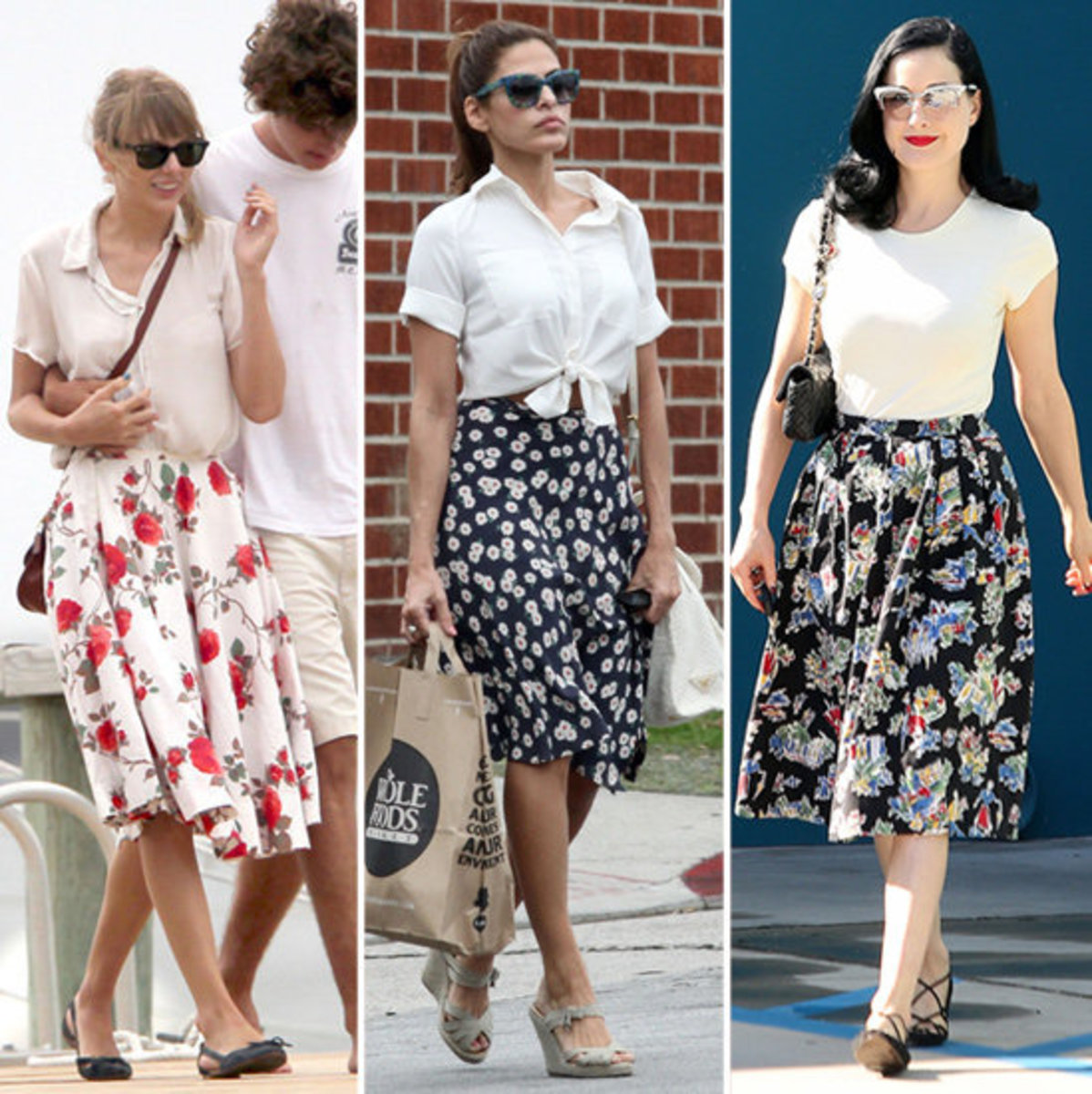 Taylor Swift sweet floral skirt and cute ballerinas.  Dita Von Teese looking great on a floral skirt and flat shoes.