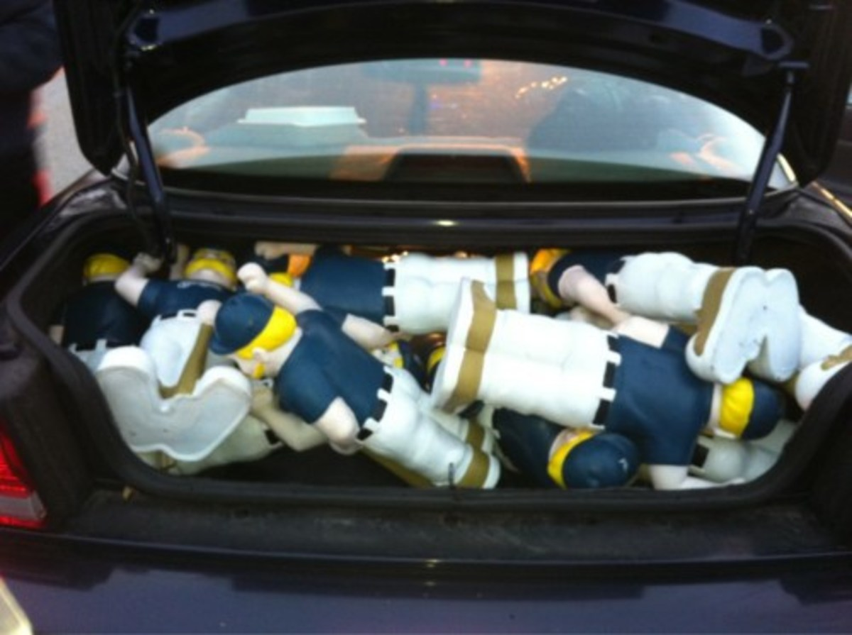 """A whole bunch of """"Bernie Brewer"""" gnomes that were taken from the Milwaukee Lakefront... probably to be put on Ebay for profit!"""