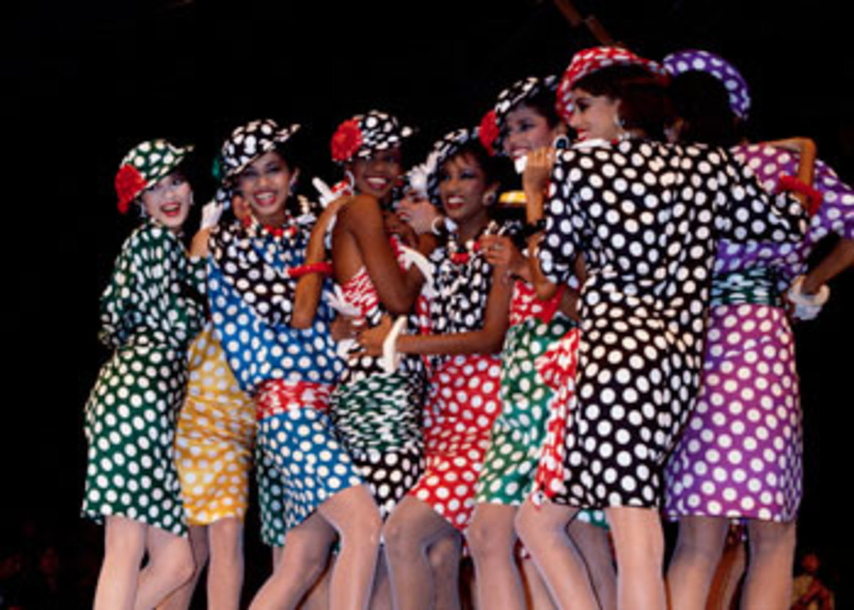 A bevy of beautiful and colorful Emanuel Ungaro polka dot frocks