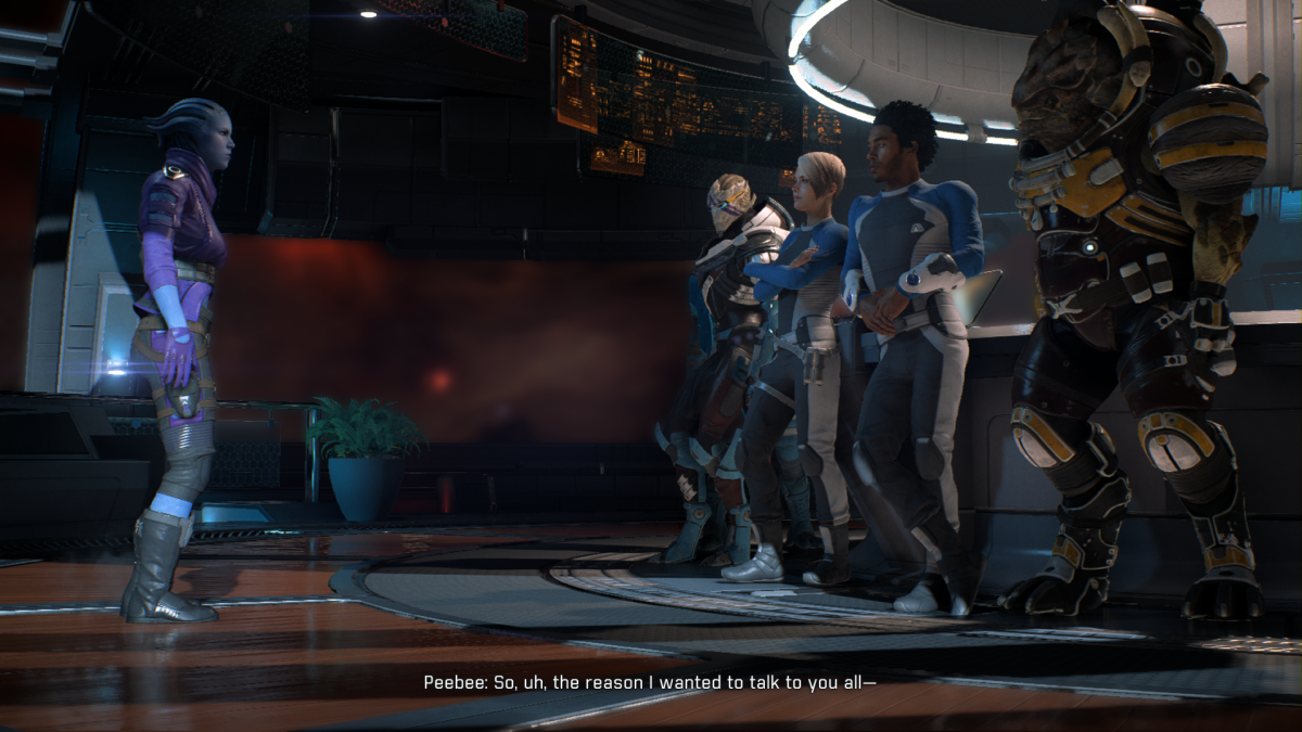 Peebee addresses the crew after asking Ryder for a commitment.