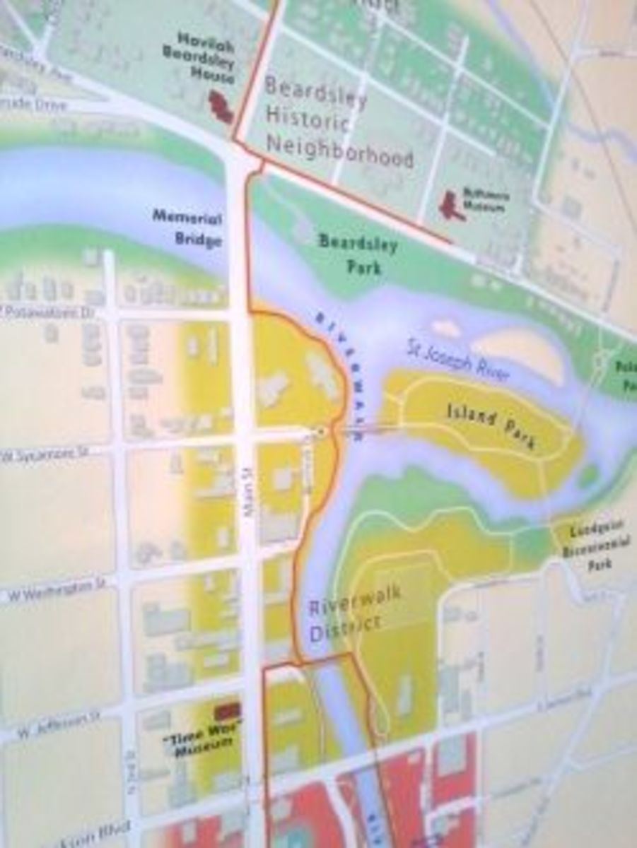 Map showing part of the city where the rivers come together