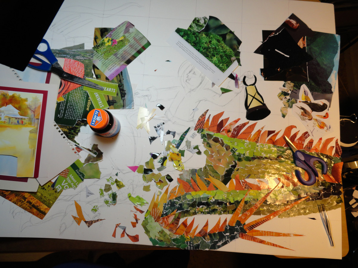 Progress of collage with rubber cement bottle and scissors