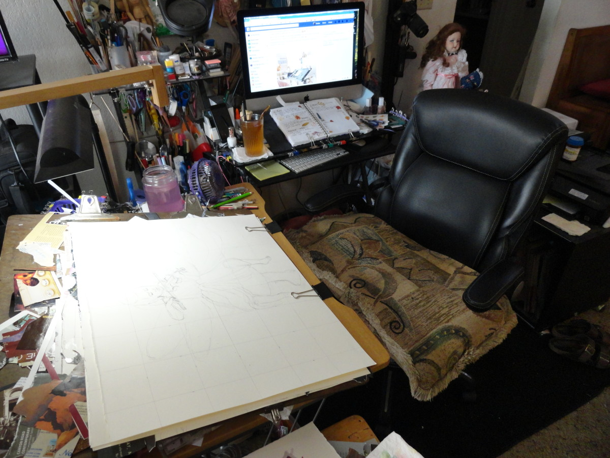 My workspace; messy but functional.  Just the way I like it.