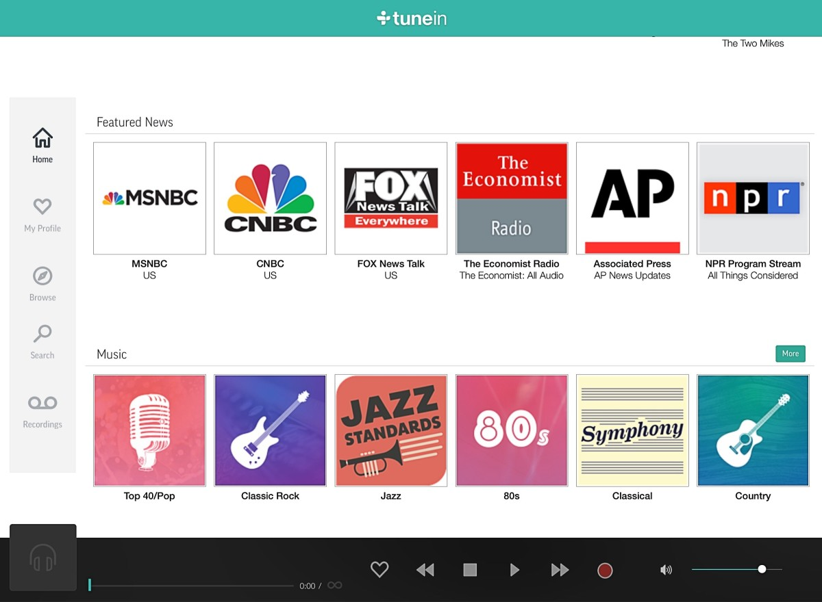 The pro version of TuneIn Radio
