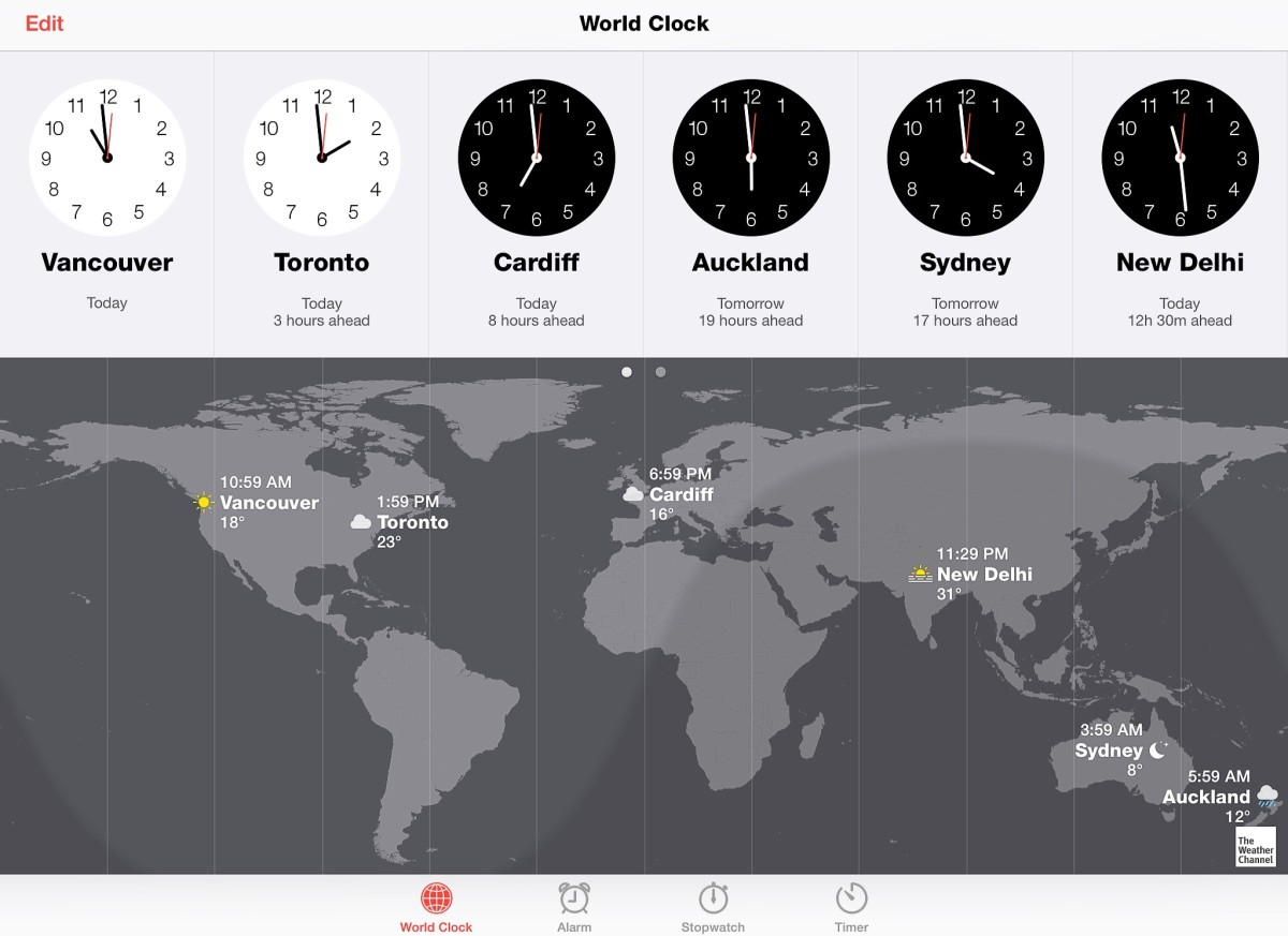 The user can choose the countries that appear in the world clock app. Here the app is integrated with the Weather Channel, which shows the weather in each country.