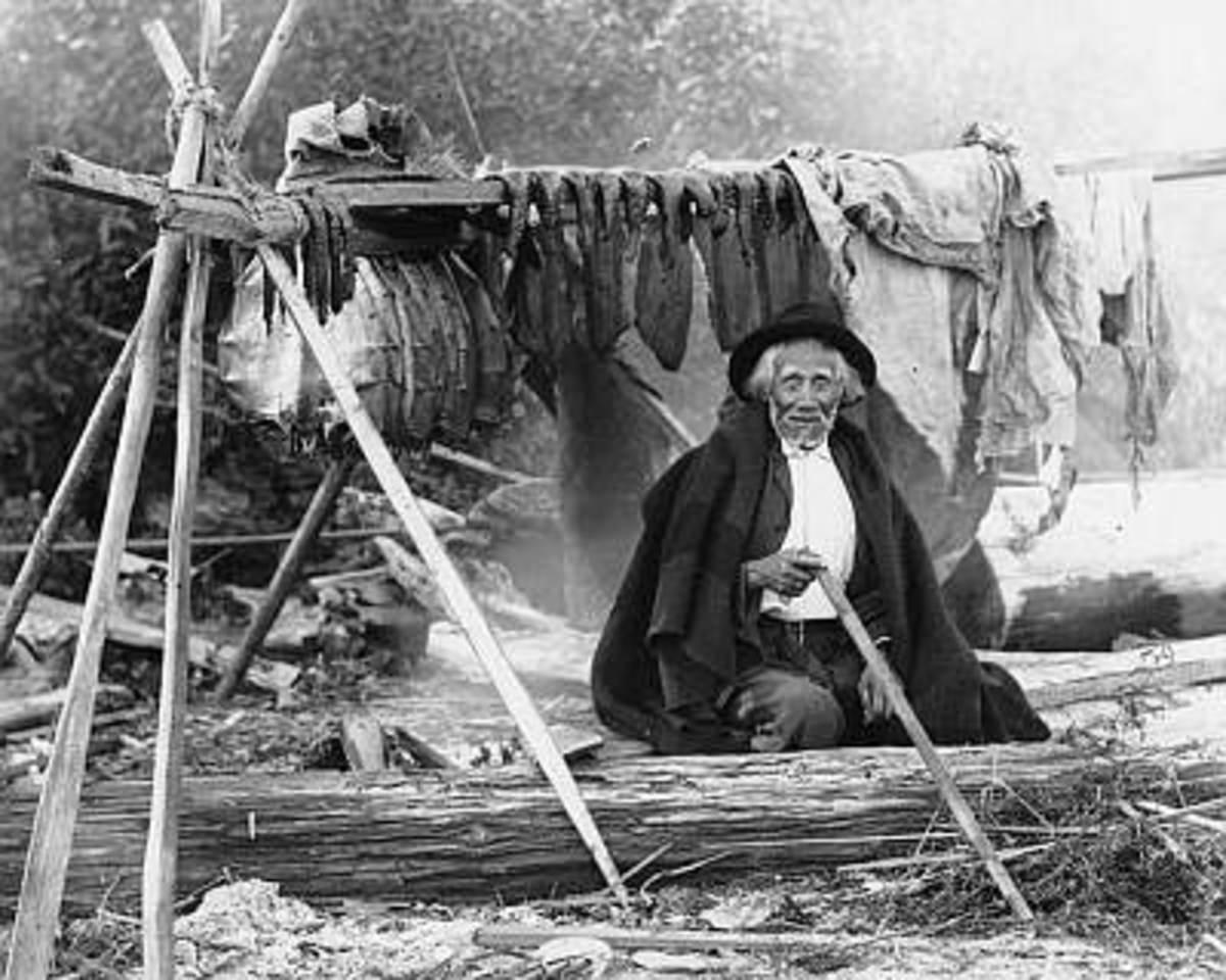 Coastal Salish: Salishan man named William We-ah-lup smoking salmon, Tulalip Indian Reservation, Washington, 1906