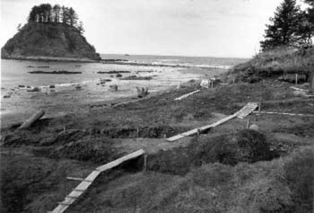 Ozette Village was largely abandoned, because of mudslides in 1750. Some residents stayed until 1934 and moved to Neah Bay at that time.