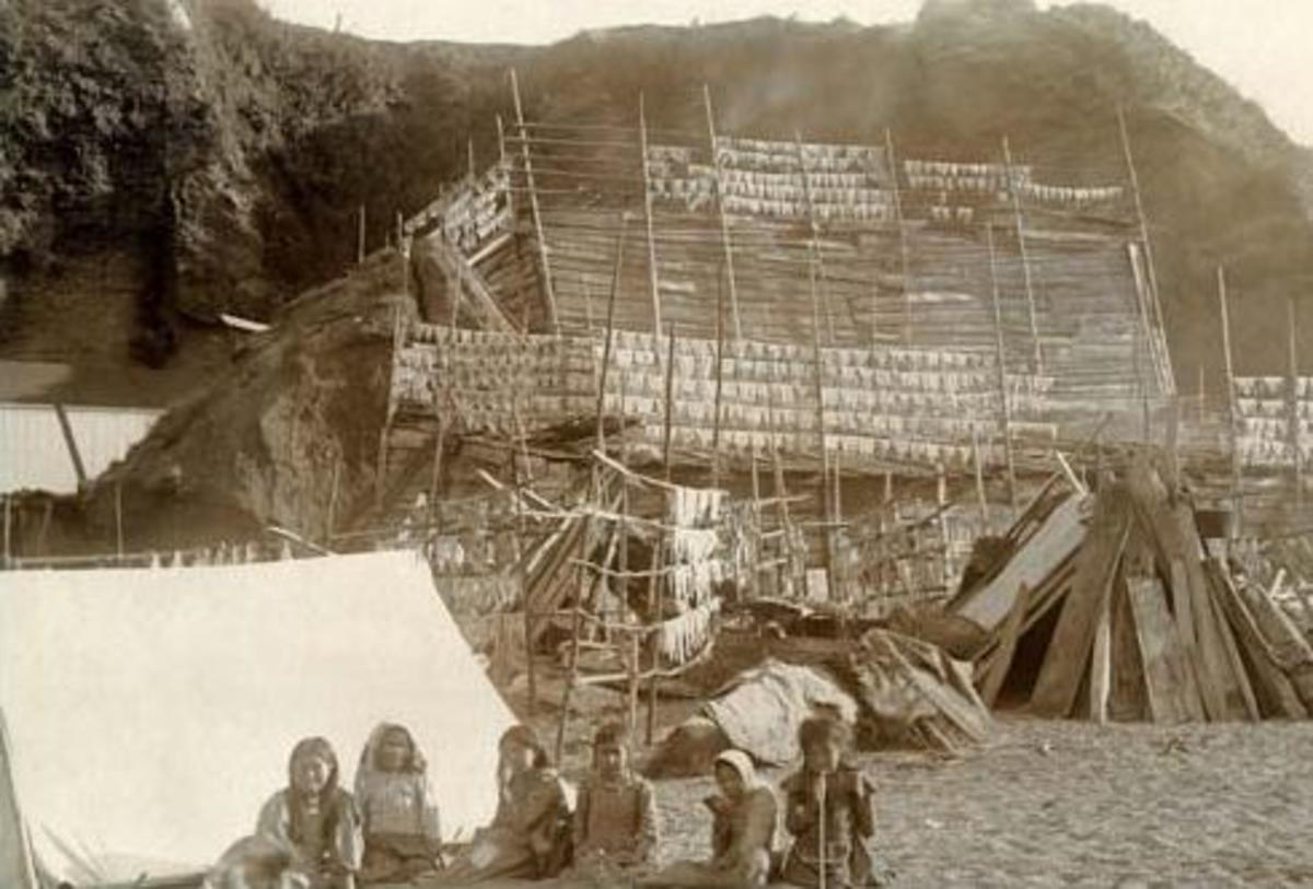 The Makah People on the Olympic Peninsula of Washington. about 1900.