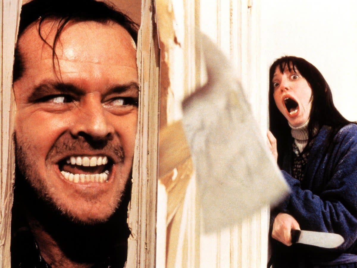 The Shining- one of many examples of husbands under the influence of demons trying to kill their families in film.