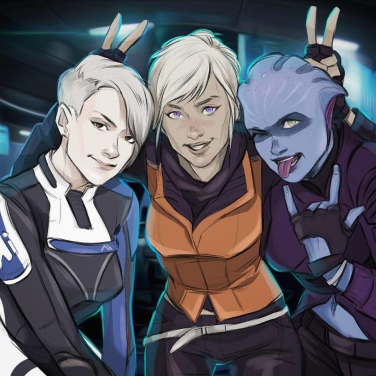 Fanart of Cora, Sara, and Peebee.