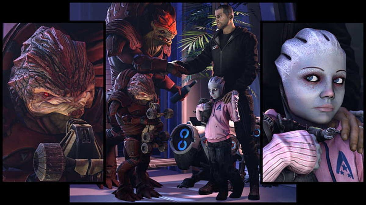 A fan render of Shepard and Wrex.
