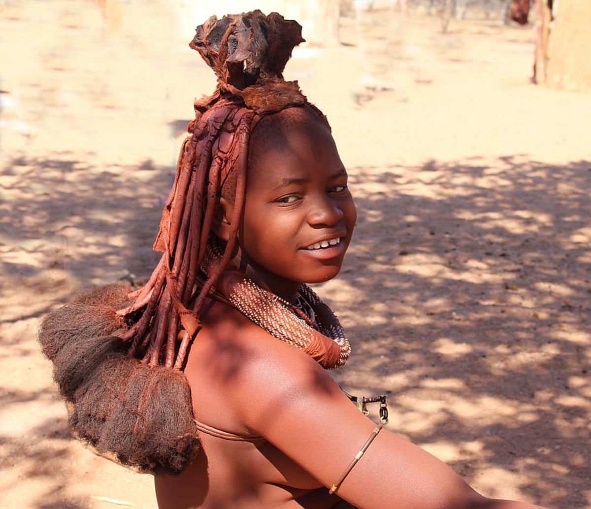 Namibian child wearing necklace