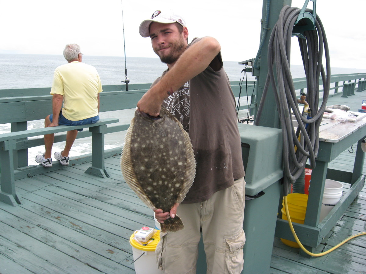 My son-in-law, Cory, with a nice flounder.