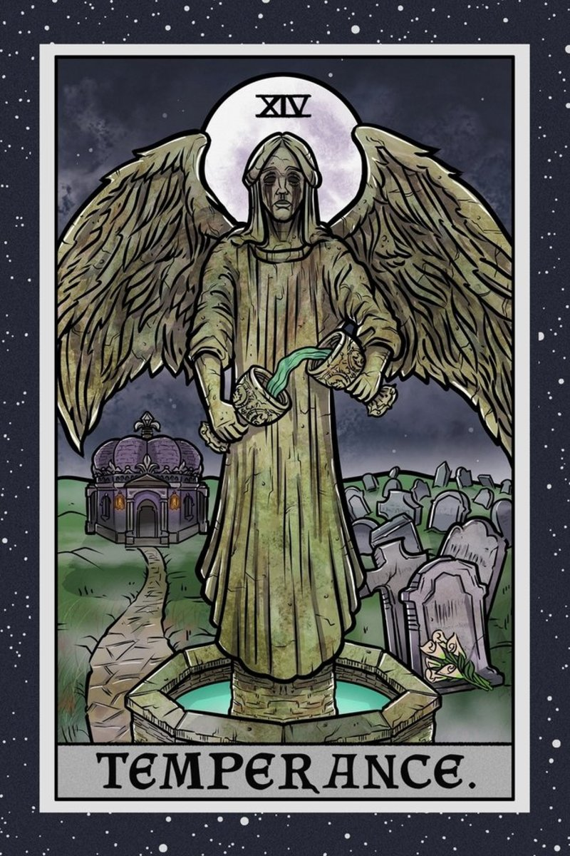 Temperance is one of the most meditative cards of Tarot. It's about self-healing. It encourages you to reconnect with your ancestral roots. It's about equanimity in the midst of strife.