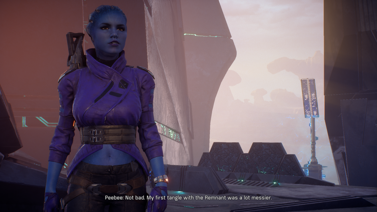 My screenshot of Peebee during her introduction.