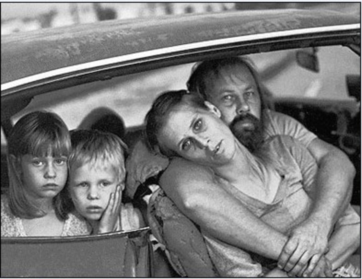 Homeless Family Living In Car