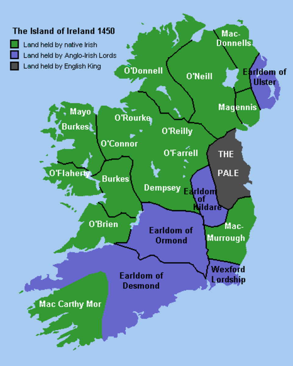 1450 map or Ireland showing land ownership at the time. Green represents wealthy Irish landowners growing food for export to England.