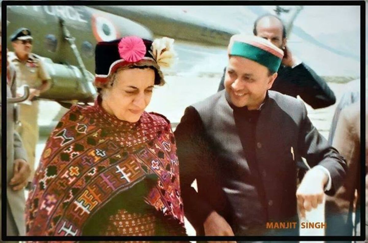 Indira Gandhi the then Prime Minister of India with Virbhadra Singh, the Chief Minister of Himachal Pradesh