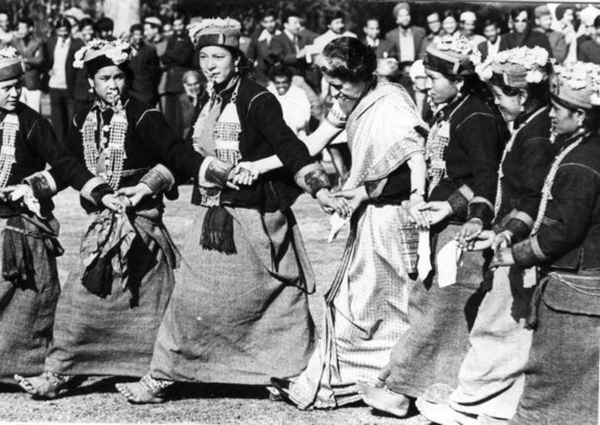 Indira Gandhi the then Prime Minister of India dancing on folk tunes at Shimla.