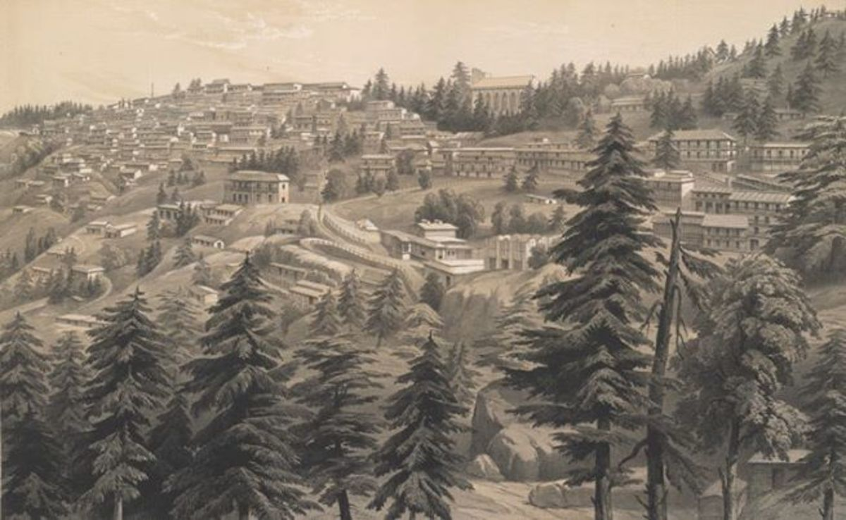 Simla between 1844-1857 shows the half built Christ Church.