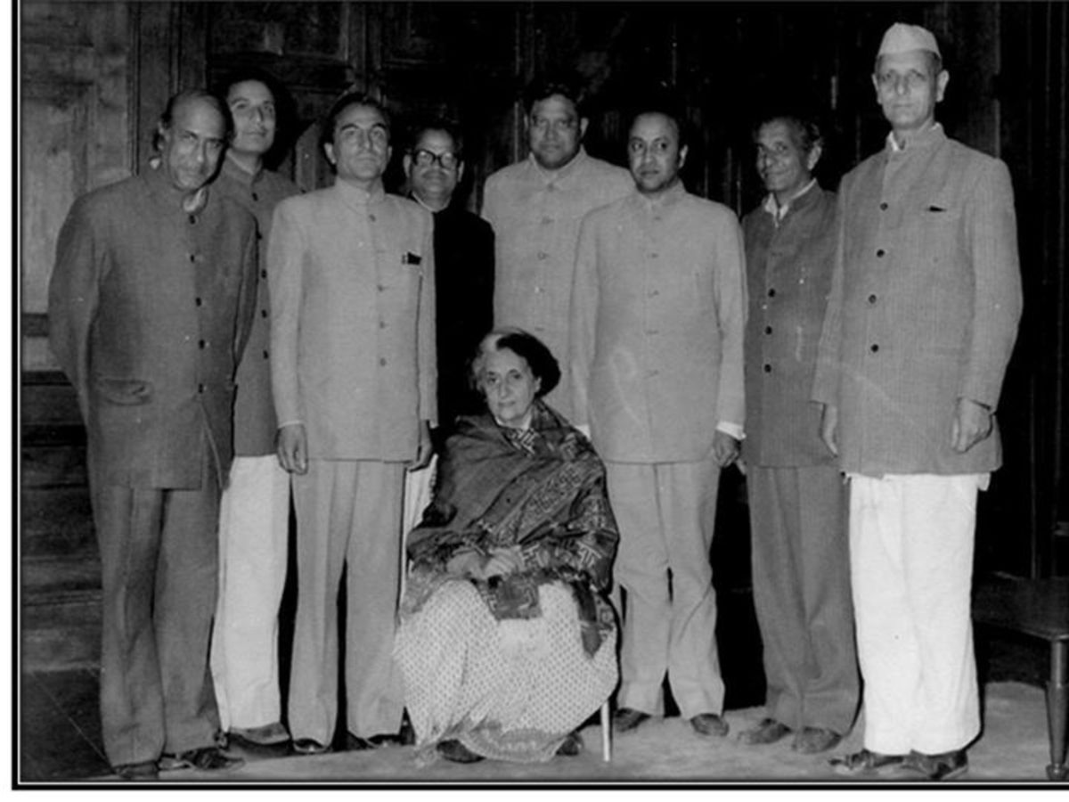 Indira Gandhi the then Prime Minister of India with the Congress leaders of Himachal Pradesh