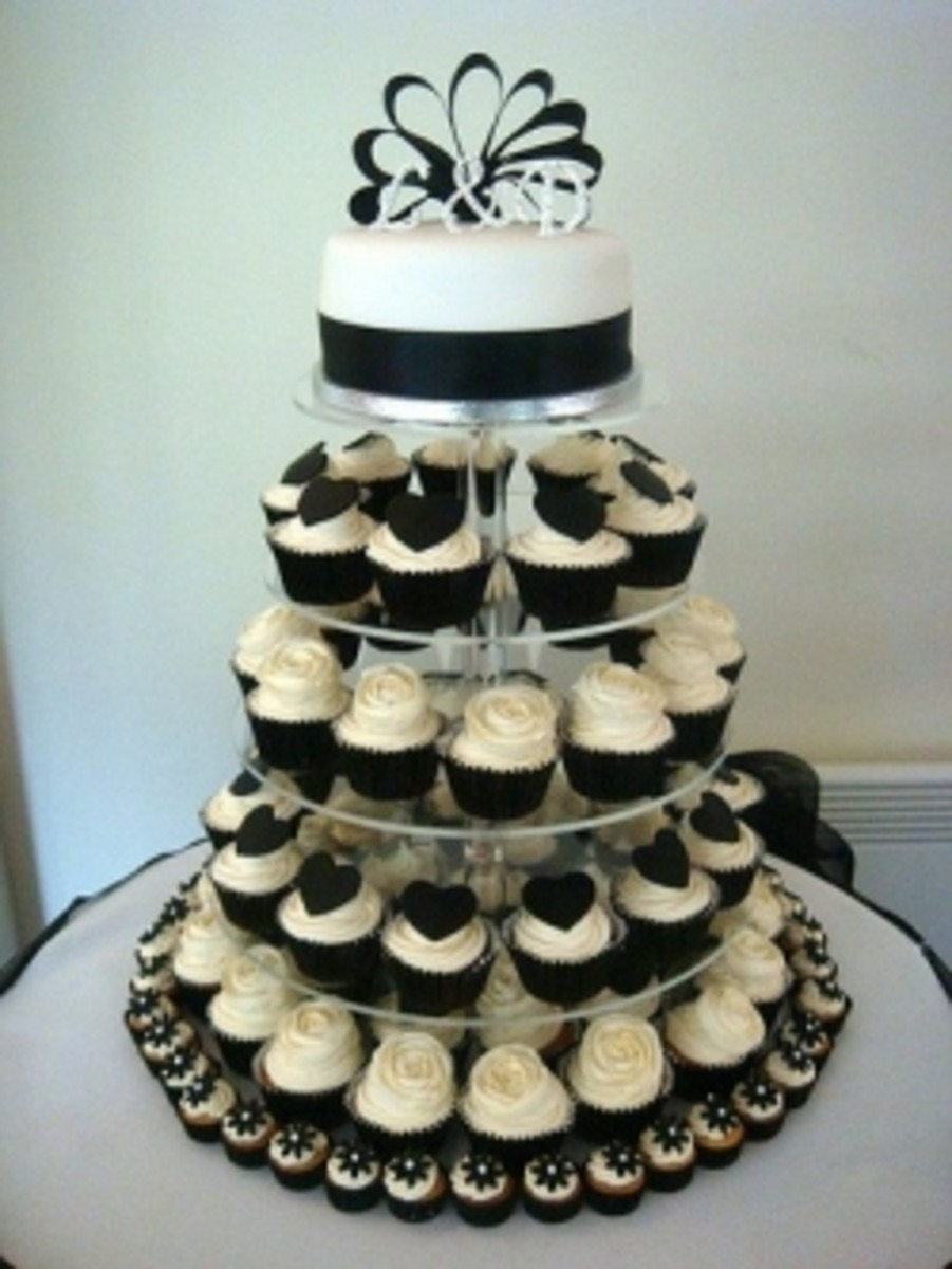 Black and White Wedding Cupcake Tower