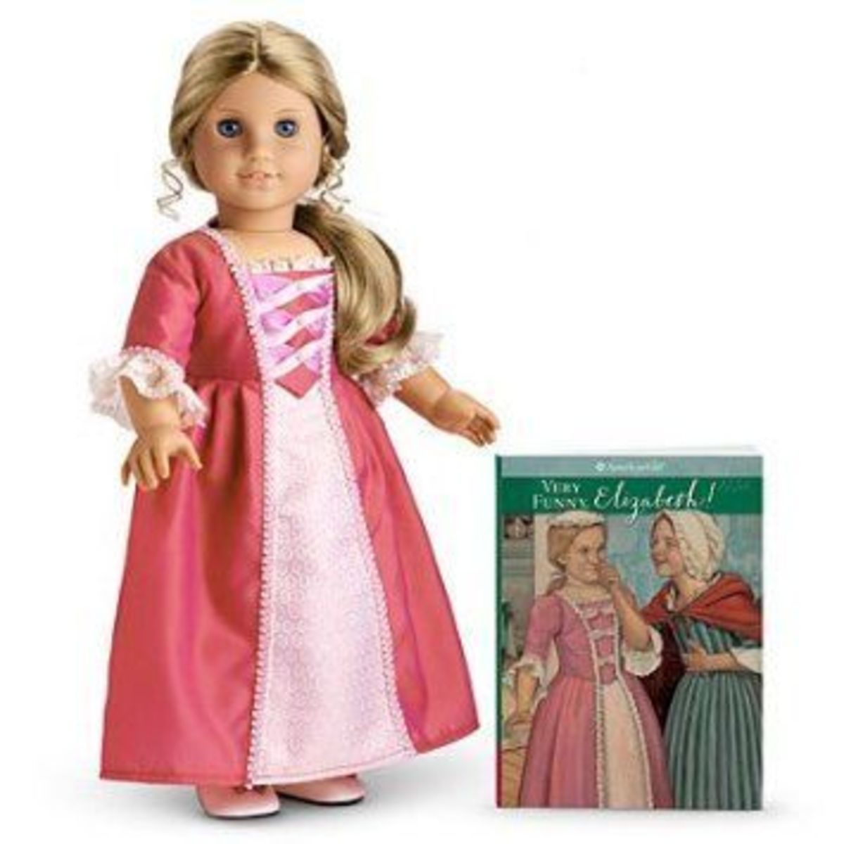 An Elizabeth doll posed in front of the Very Funny, Elizabeth book (Elizabeth's only solo book)