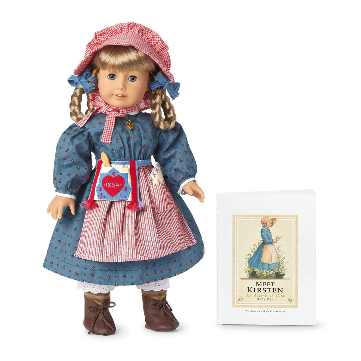 A 35th Anniversary Kirsten Doll, pictured with the Meet Kirsten book in its original design
