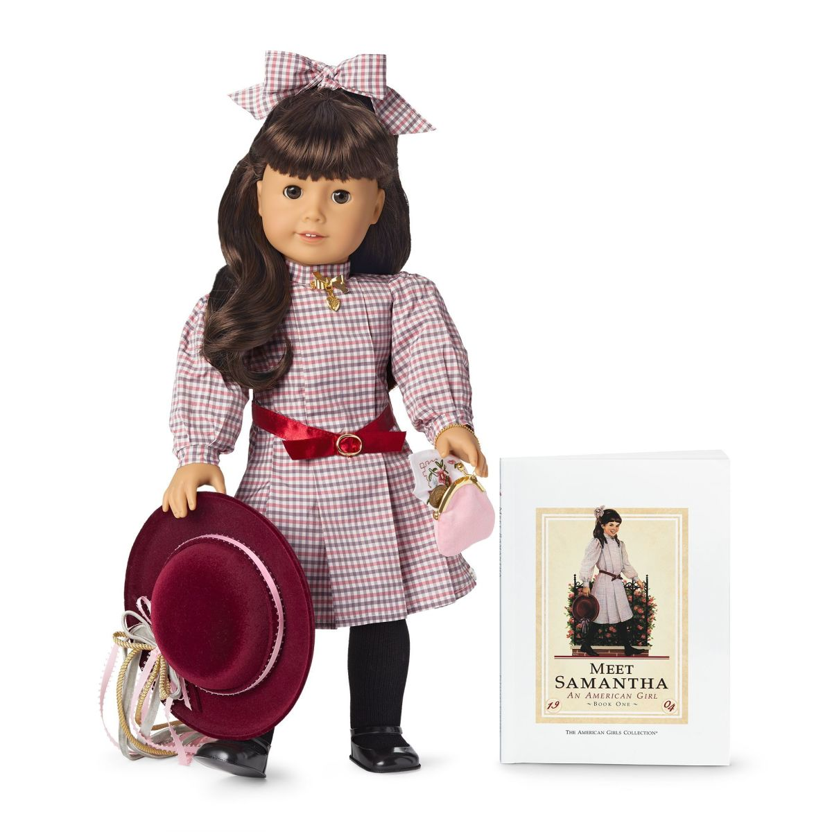 A 35th Anniversary Samantha Doll, pictured with her accessories and the Meet Samantha book