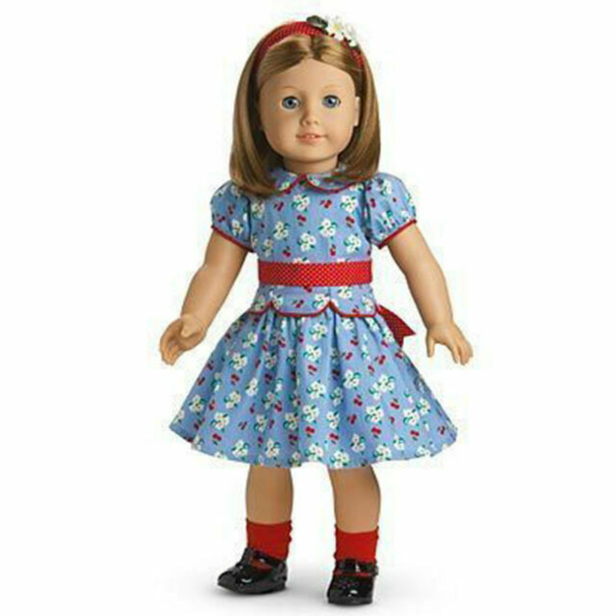 An Emily doll dressed in her Meet Outfit