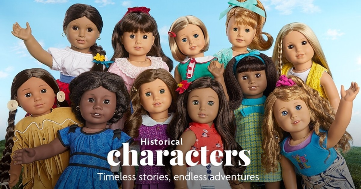 A promotional photo from American Girl displaying all of the Historical Character dolls that are currently active