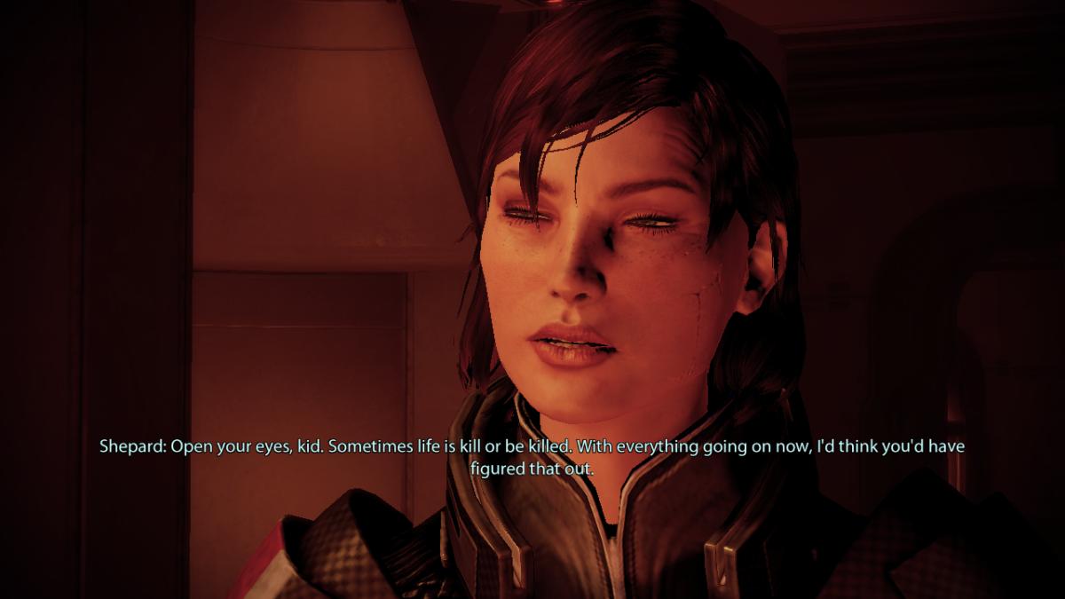 Shepard guns down batarians on Omega.