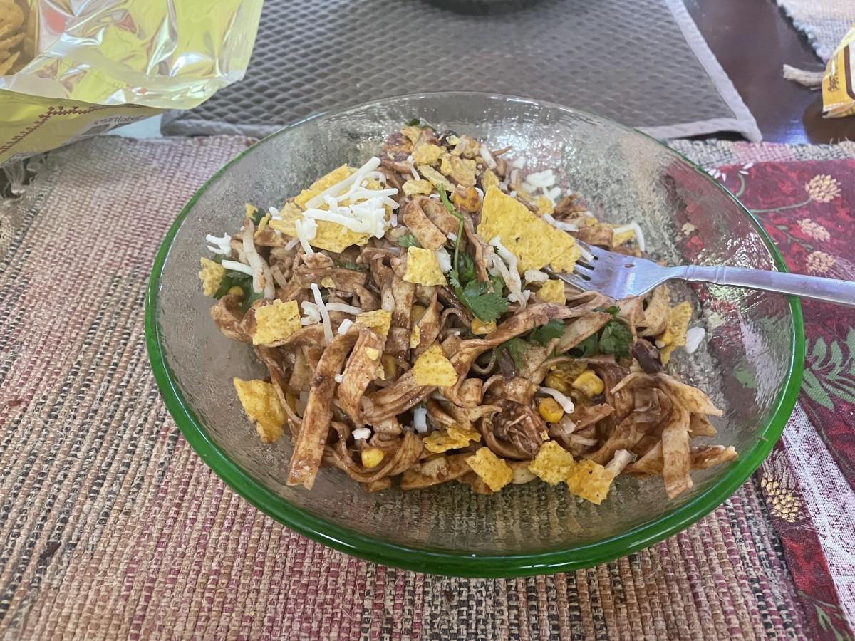 festive-fettucine-in-a-mole-sauce-with-corn-beans-and-chicken-recipe