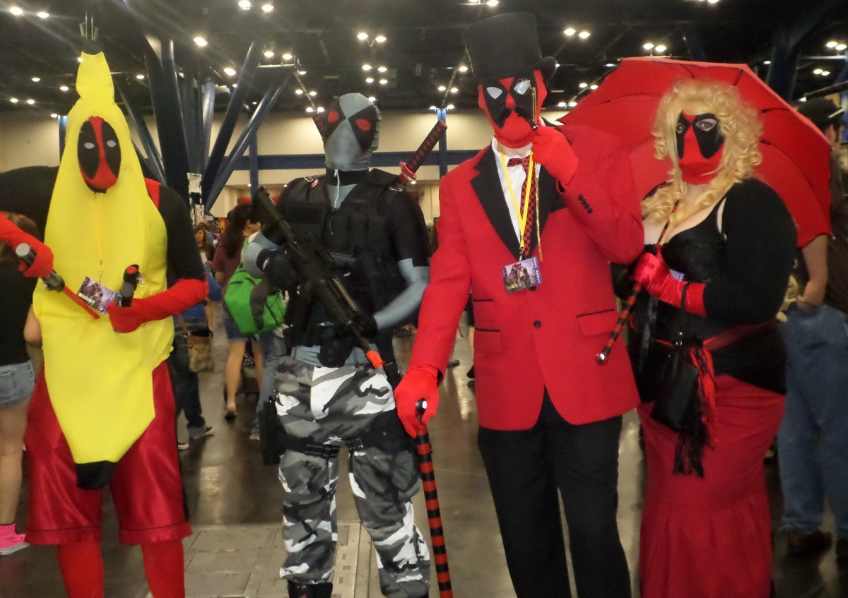 My wife and I dressed as Fancy Deadpool and Lady Deadpool (the two on the right) at Comicpalooza 2013.