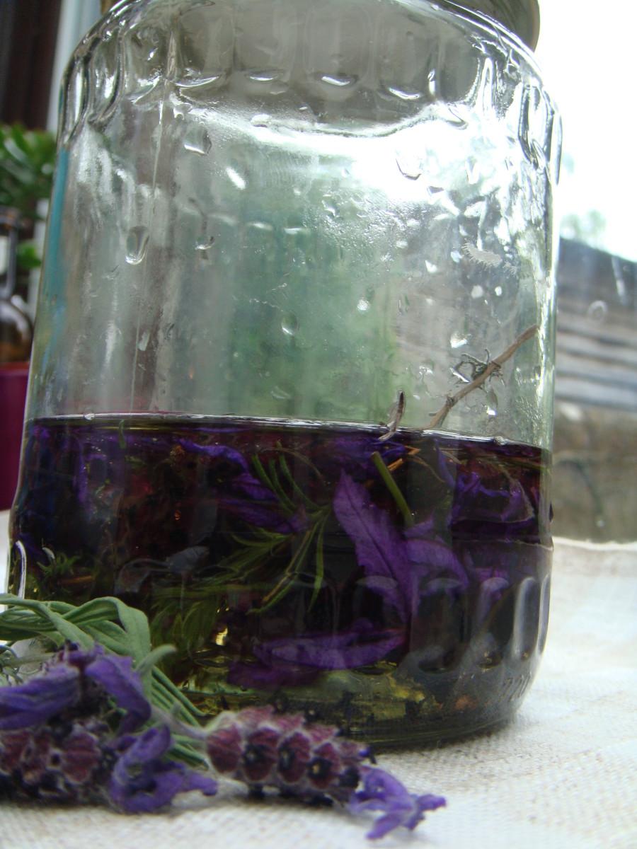 Steep lavender in olive oil to make lavender oil