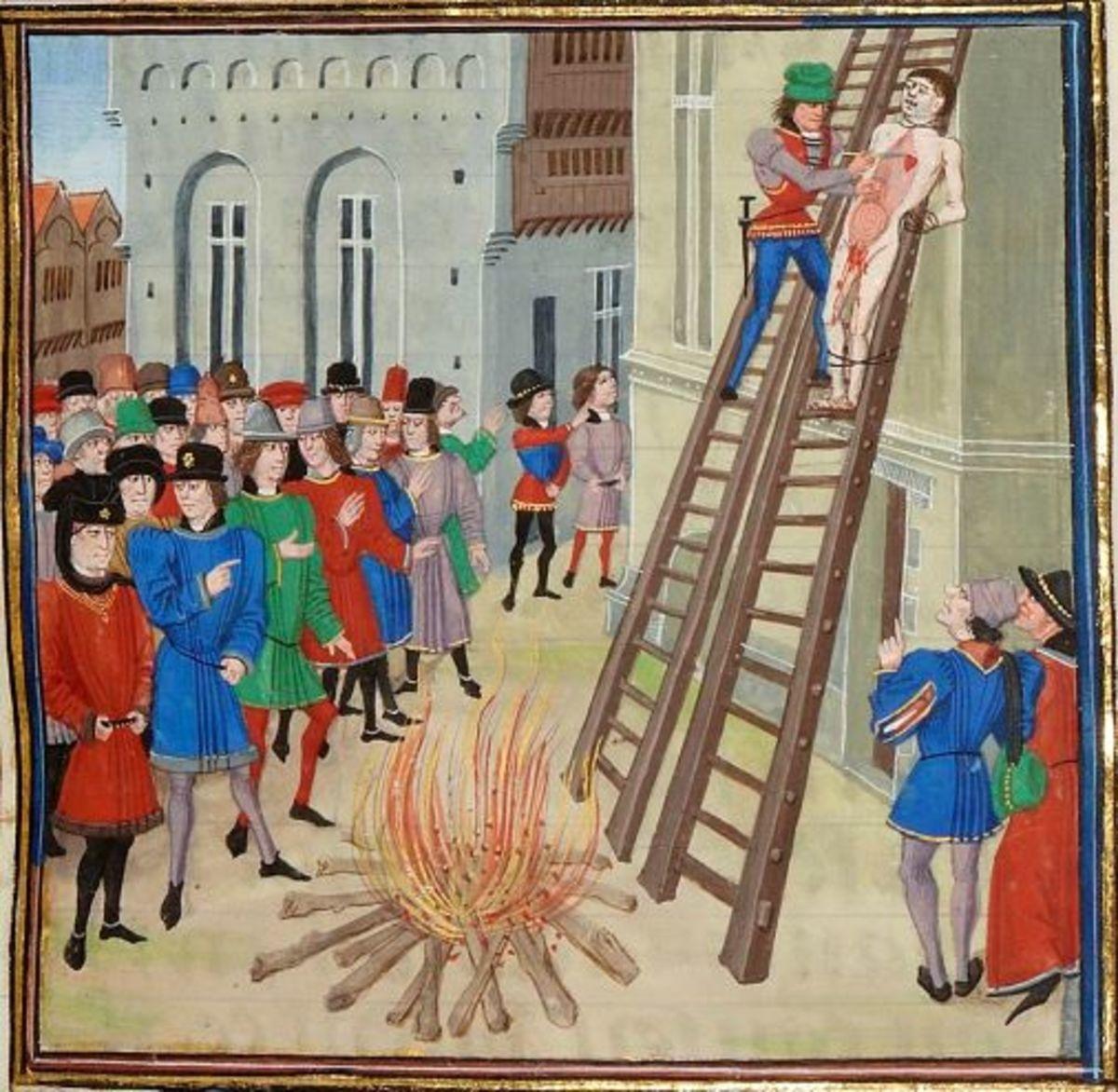 Hugh Despenser's execution by Froissart.