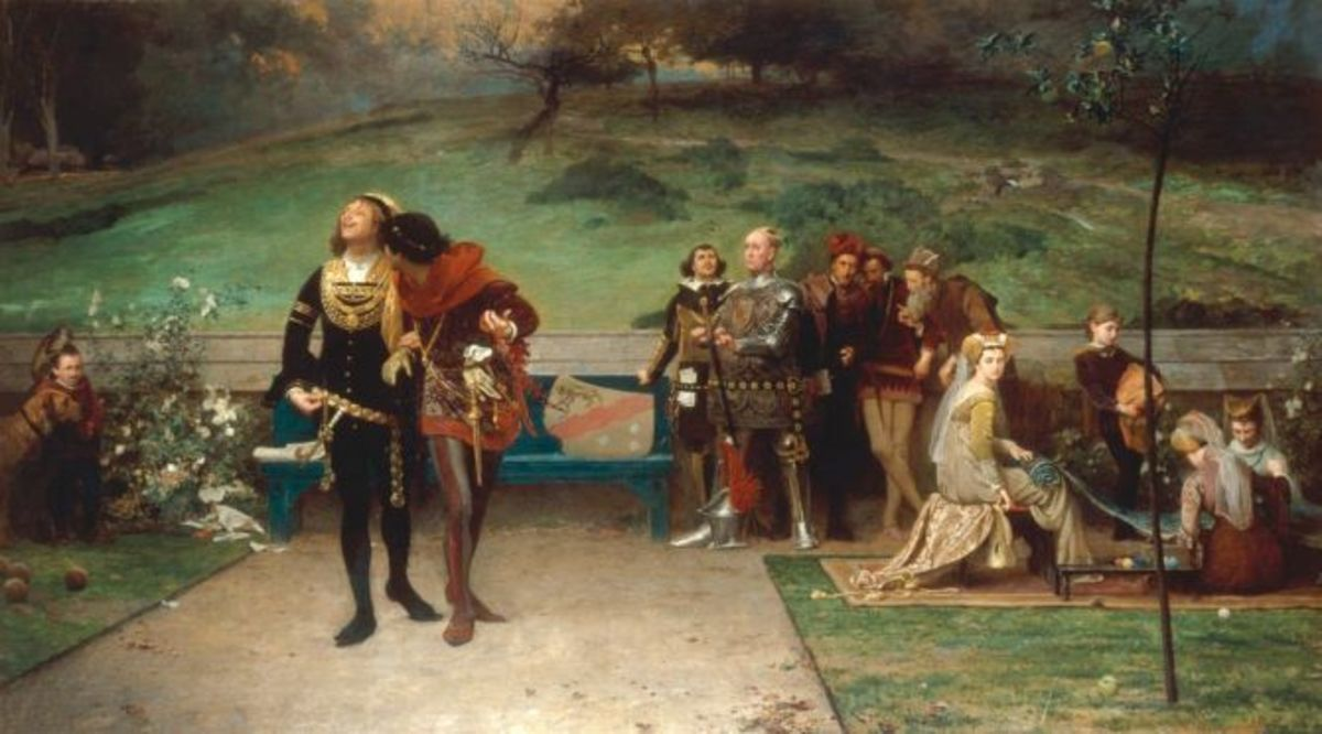 Marcus Stone's 19th century imagining of Edward II and Piers Gaveston watched by troubled barons and courtiers.