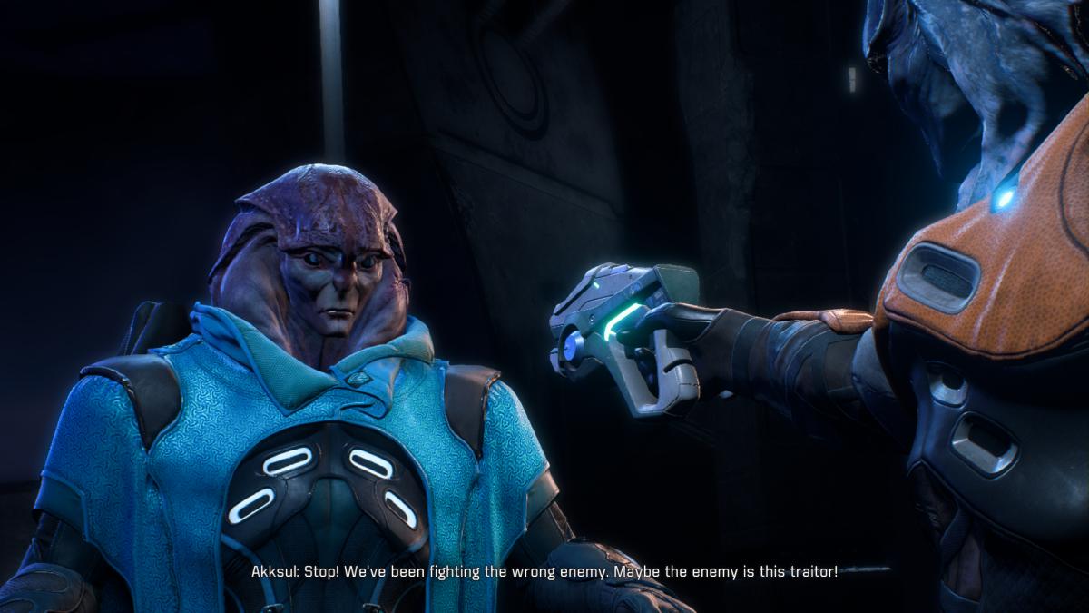 Akksul points a gun at Jaal.