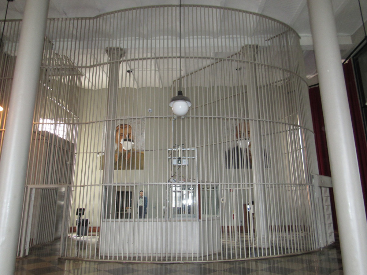 Caged area of the central guard room