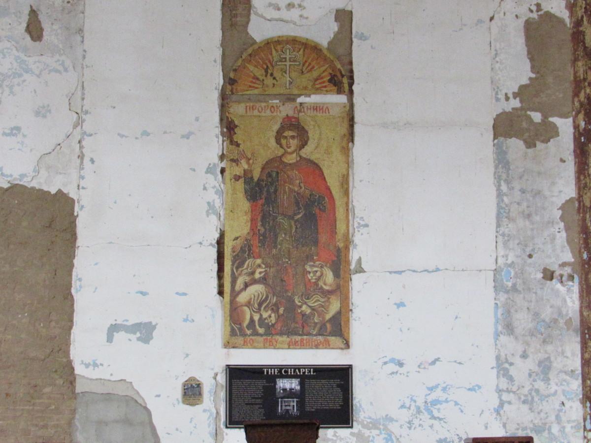 Chapel wall behind the podium