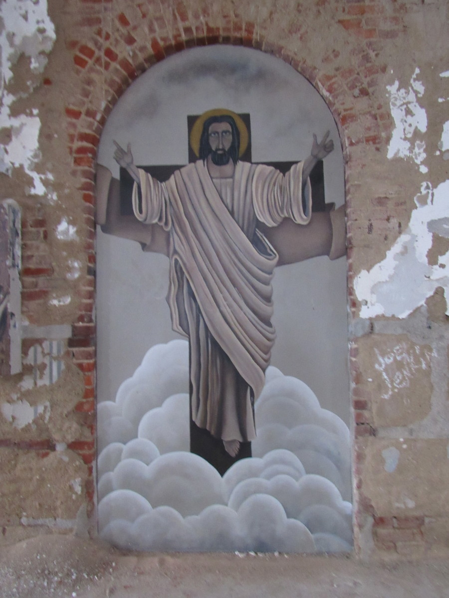 """A depiction of Jesus Christ located within the """"Jesus Room"""""""