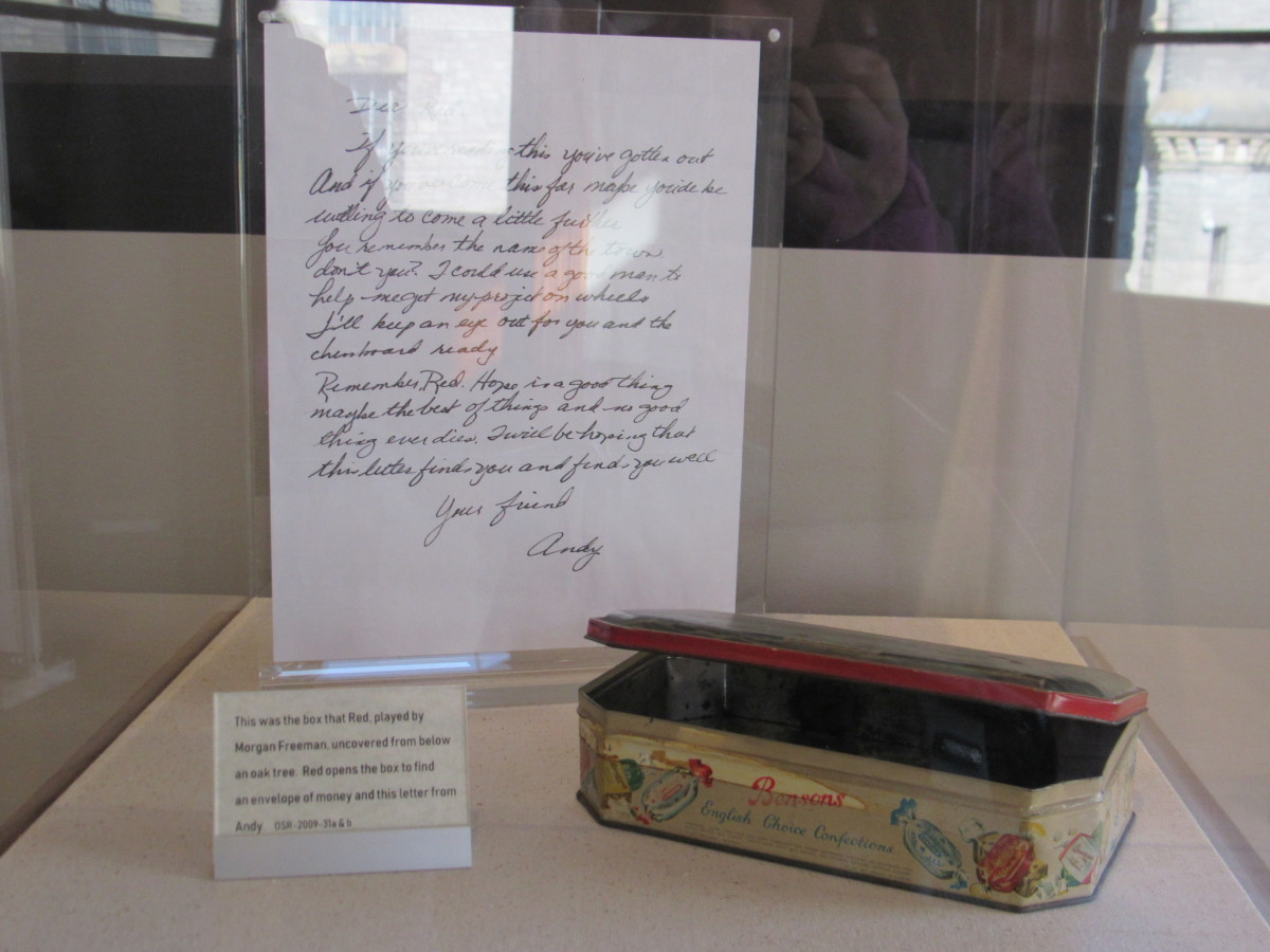 More movie props from The Shawshank Redemption. These are the letter and tin container left by Andy.