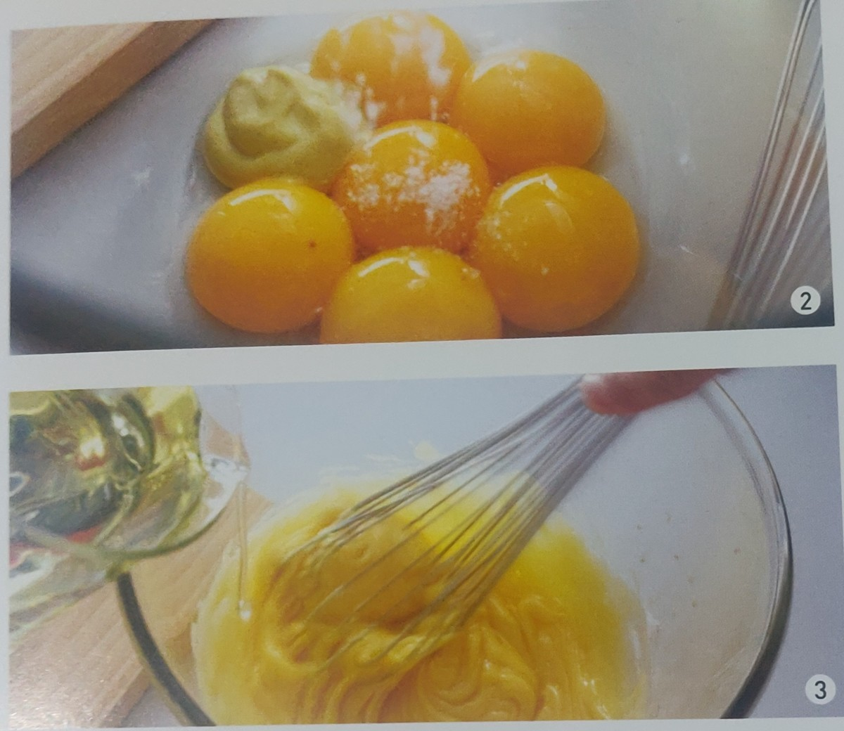 6 egg yolk,1 TSP mustard powder, 800 ml salad oil for mixing.
