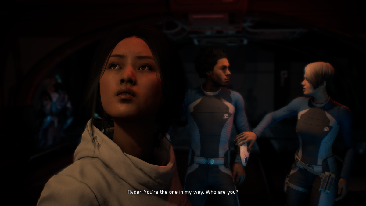 Liam tries to speak to the Archon behind my Ryder.