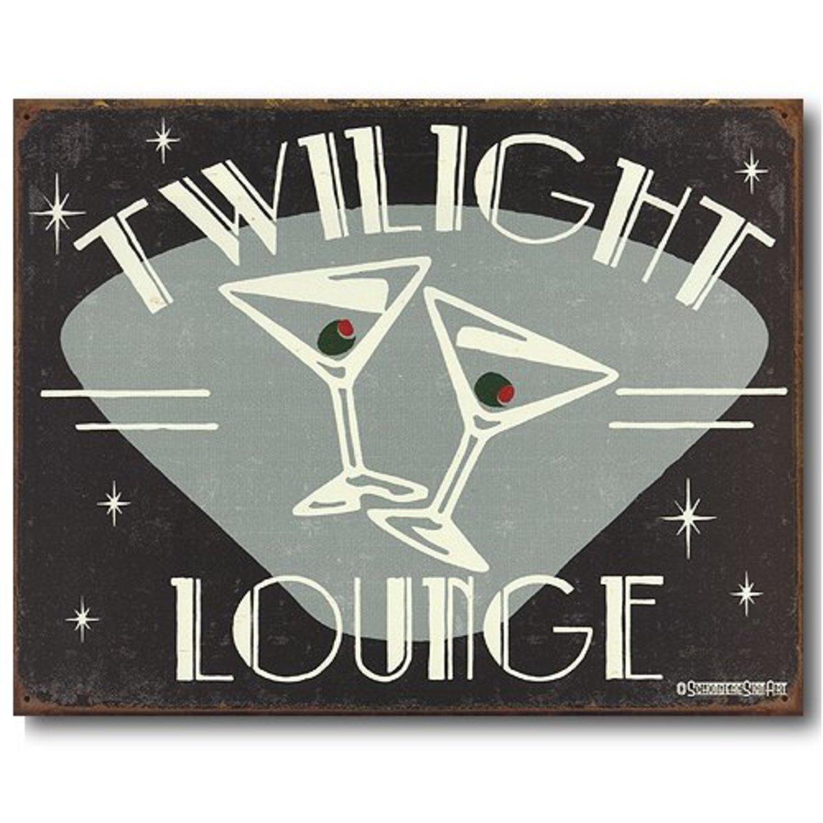 Twilight Lounge Martini Sign