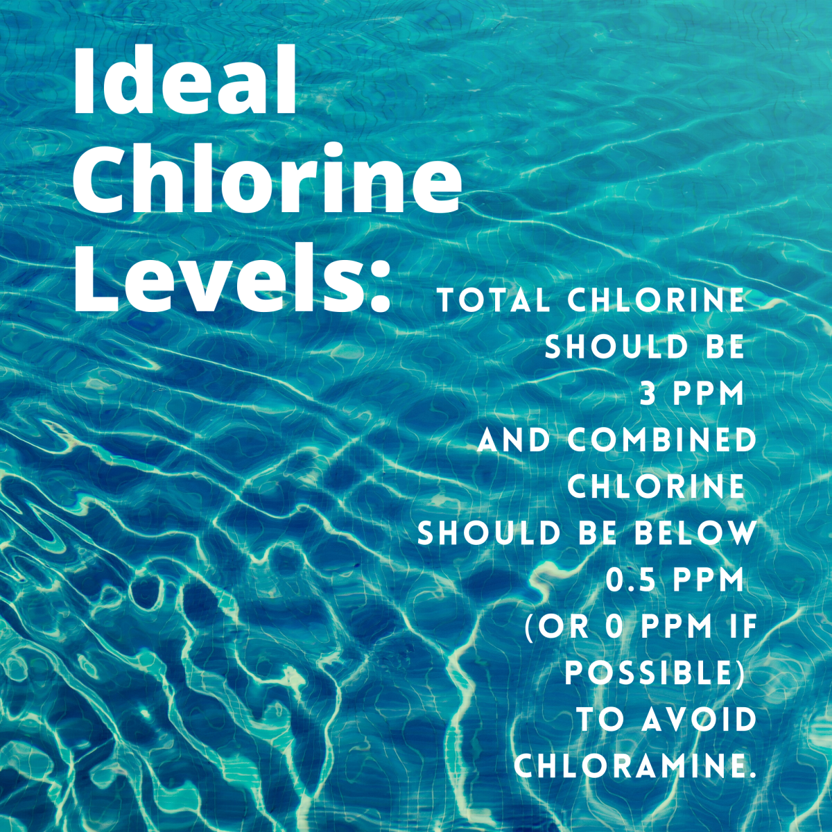 Ideal chlorine and combined chlorine to avoid chloramine in your pool.