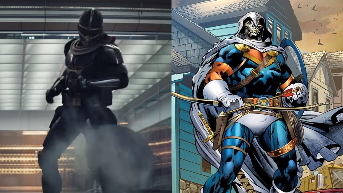 Taskmaster in his MCU debut vs his comic counterpart.