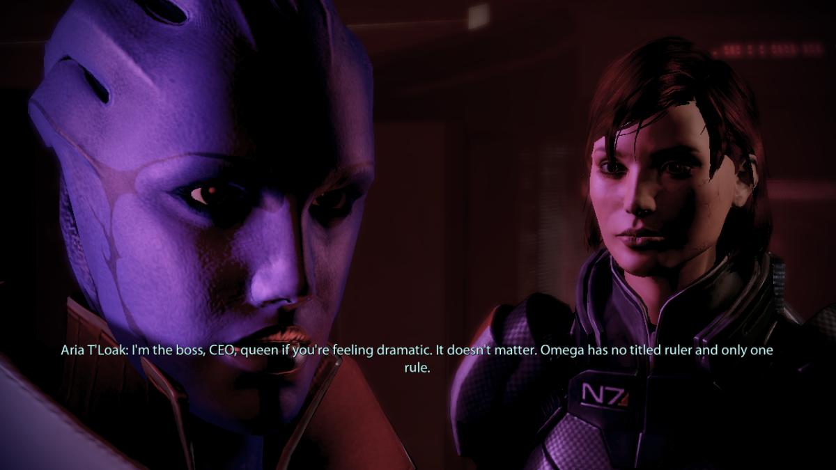 Aria tells my Shepard that she is Omega.