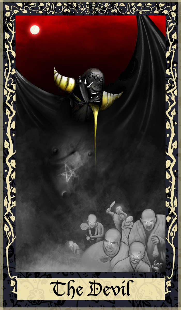 The Devil is about rebellion. The card indicates whether you are too dependent on material things or if you are striving for more independence. Now is the time to consider your attachments.