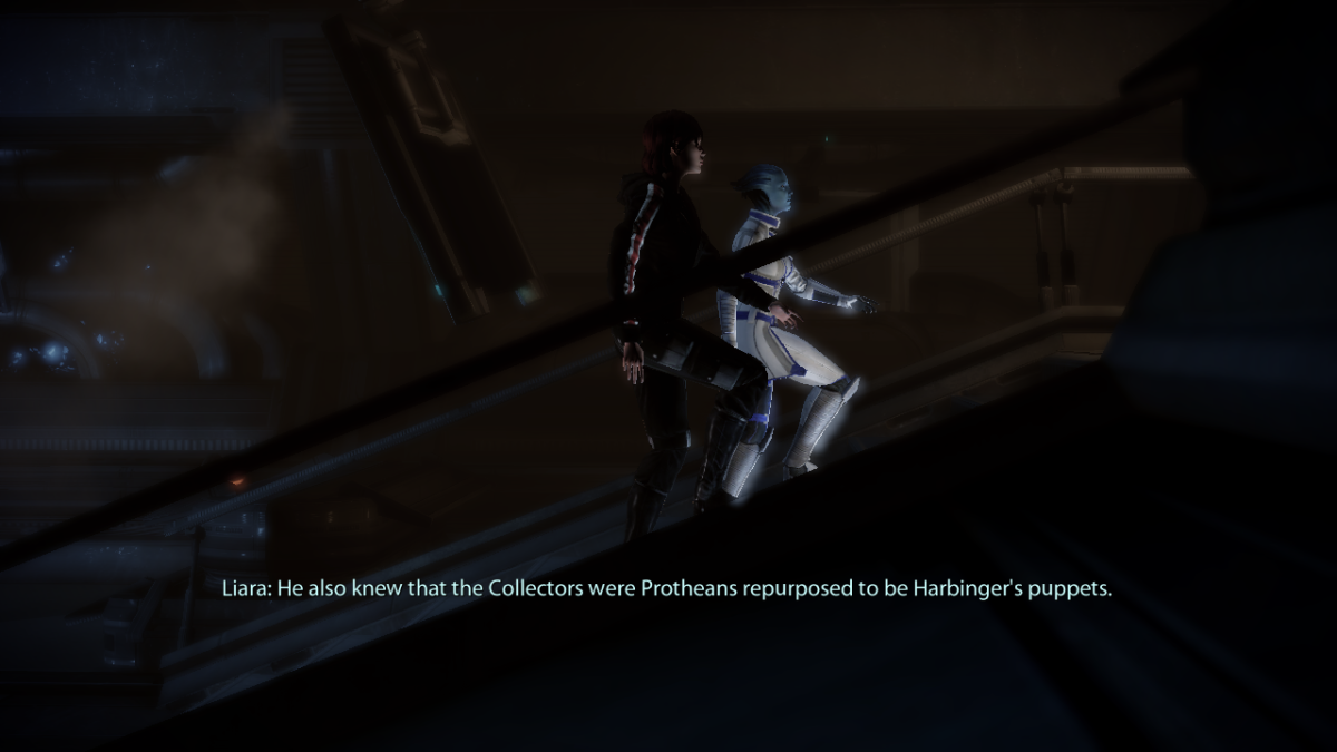 Shepard and Liara discuss the former Shadow Broker.